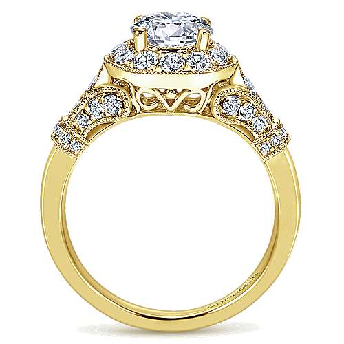 14k Yellow Gold Diamond Halo Engagement Ring angle 2