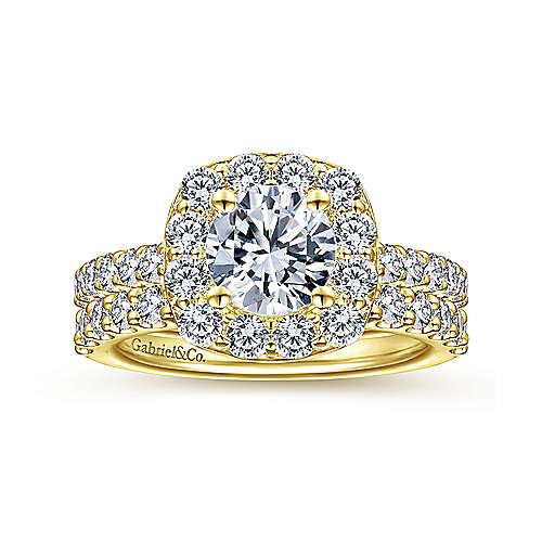 14k Yellow Gold Diamond Halo Engagement Ring angle 4