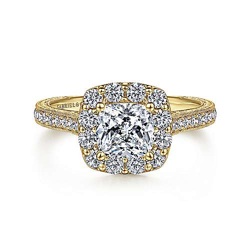 Gabriel - 14k Yellow Gold Cushion Cut Halo Engagement Ring