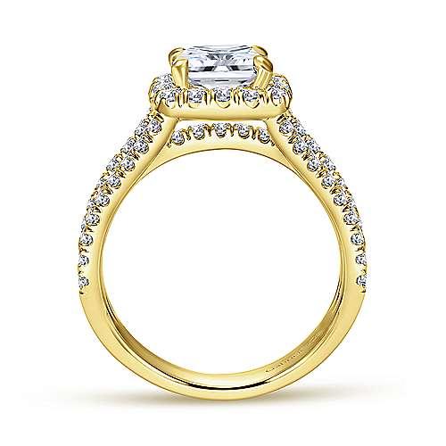 14k Yellow Gold Diamond Halo Engagement Ring angle 2