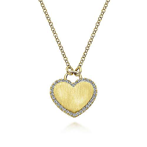 14k Yellow Gold Diamond Halo Engravable Heart Necklace