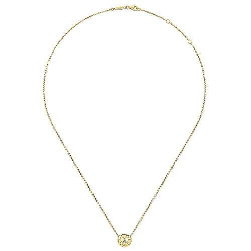 14k Yellow Gold Diamond Heart Necklace angle 2