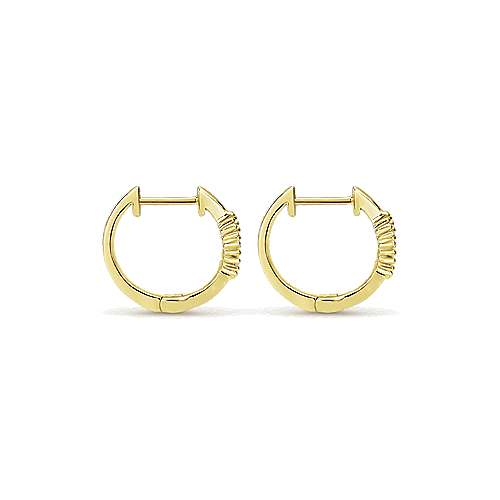 14k Yellow Gold Diamond Huggie Earrings angle 2