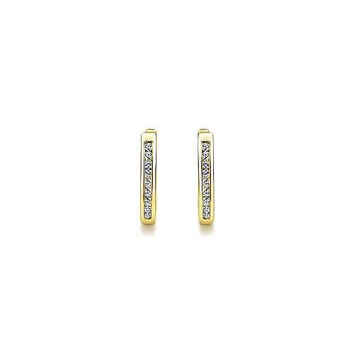 14k Yellow Gold Diamond Huggie Earrings angle 3