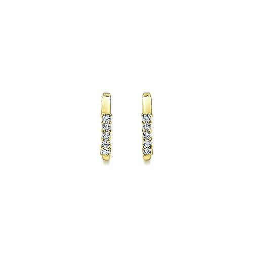 14k Yellow Gold Diamond Huggie Earrings angle 3