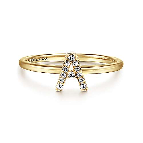 14k Yellow Gold Stackable Initial
