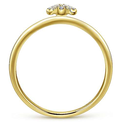 14k Yellow Gold Diamond Initial Ladies