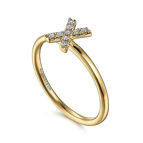 14k Yellow Gold Diamond Initial Ladies
