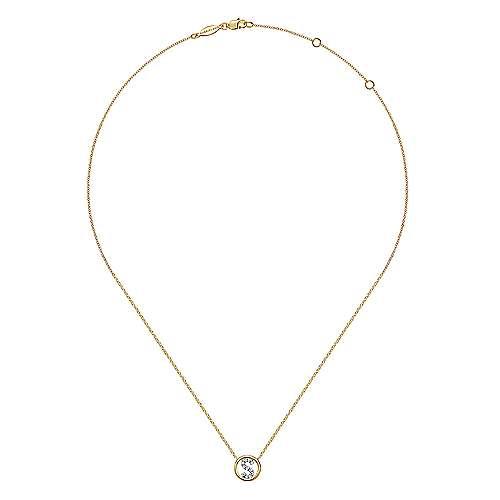 14k Yellow Gold Diamond Initial Pavé S Necklace angle 2