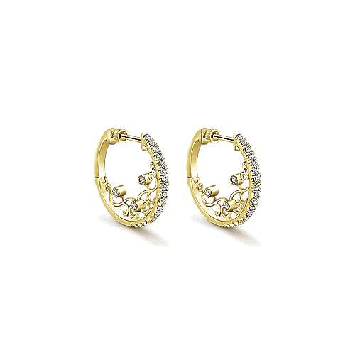 14k Yellow Gold Diamond Intricate Hoop Earrings angle 1