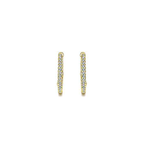 14k Yellow Gold Diamond Intricate Hoop Earrings angle 3
