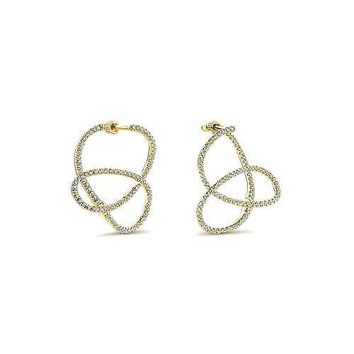 14k Yellow Gold Diamond Intricate Hoop Earrings angle 3