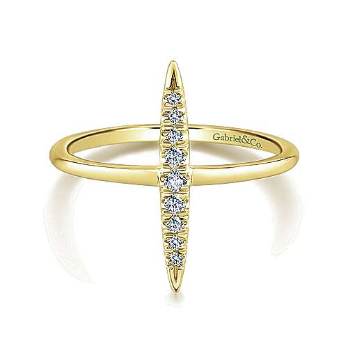 14k Yellow Gold Diamond Midi