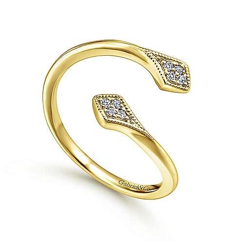 14k Yellow Gold Diamond Midi Ladies Ring angle 3