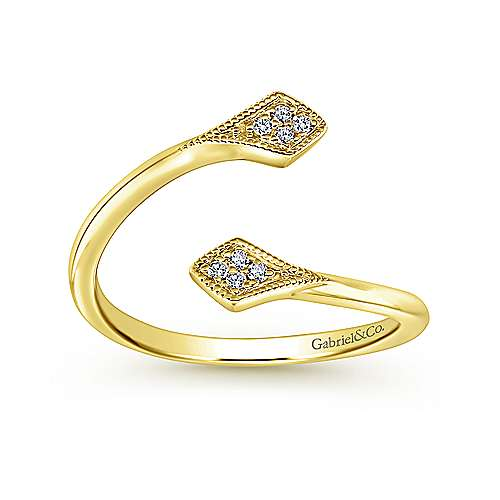 14k Yellow Gold Diamond Midi Ladies Ring angle 4