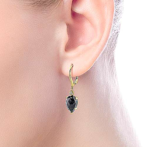 14k Yellow Gold Diamond Onyx Drop Earrings angle 2