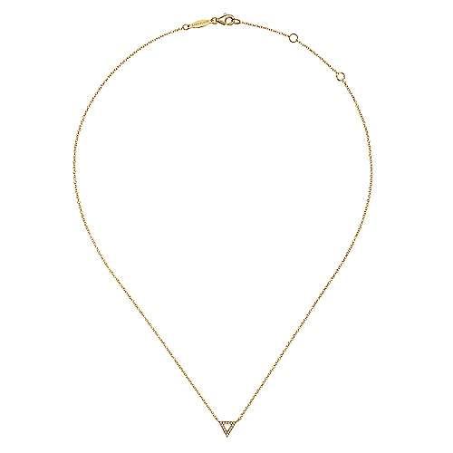 14k Yellow Gold Diamond Open Pavé Triangle Fashion Necklace angle 2