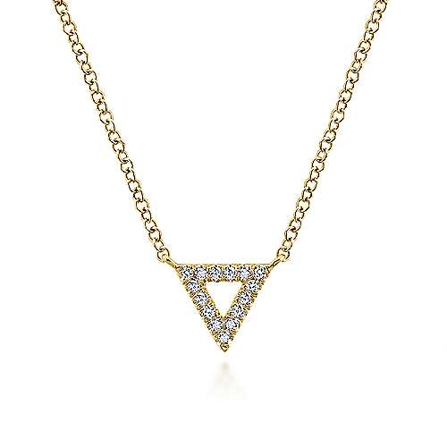 Gabriel - 14k Yellow Gold Diamond Open Pave Triangle Fashion Necklace