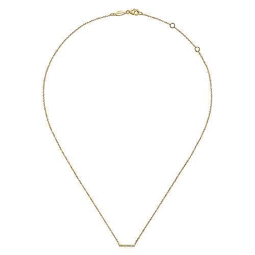 14k Yellow Gold Diamond Pavé Bar Necklace angle 2
