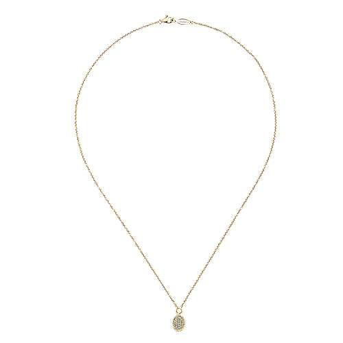 14k Yellow Gold Diamond Pavé Oval Fashion Necklace angle 2