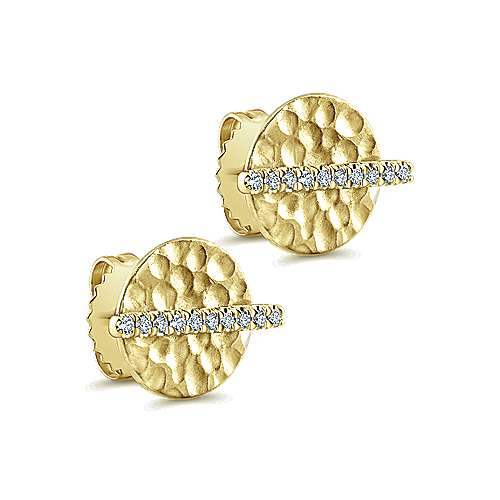 14k Yellow Gold Diamond Pavé and Hammered Stud Earrings angle 2
