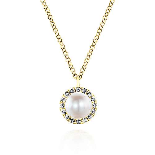 14k Yellow Gold Diamond Pearl Fashion Necklace angle 1