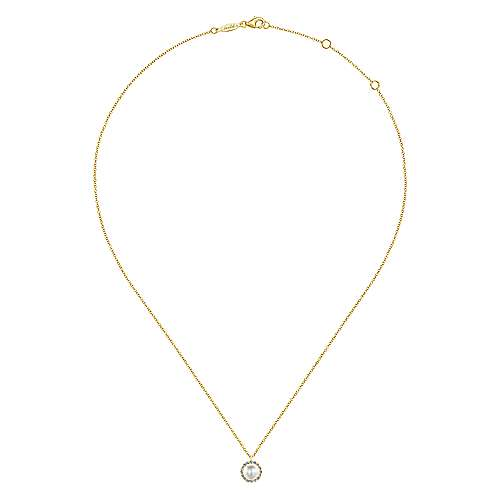 14k Yellow Gold Diamond Pearl Fashion Necklace angle 2