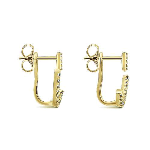 14k Yellow Gold Diamond Peek A Boo Earrings angle 3