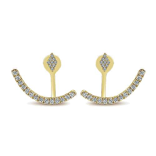 14k Yellow Gold Diamond Peek A Boo Earrings angle 1