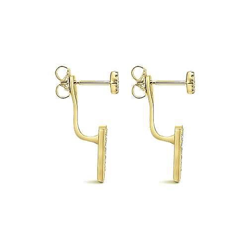 14k Yellow Gold Diamond Peek A Boo Earrings angle 3