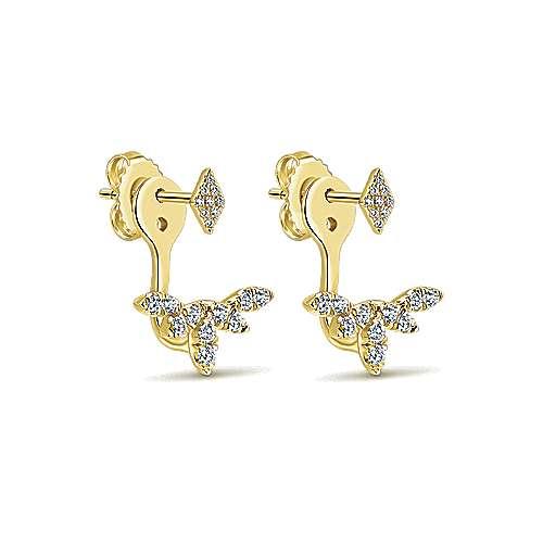 14k Yellow Gold Diamond Peek A Boo Earrings angle 2