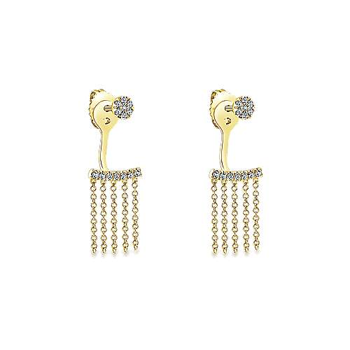 14k Yellow Gold Diamond Peek A Boo Earrings angle 2