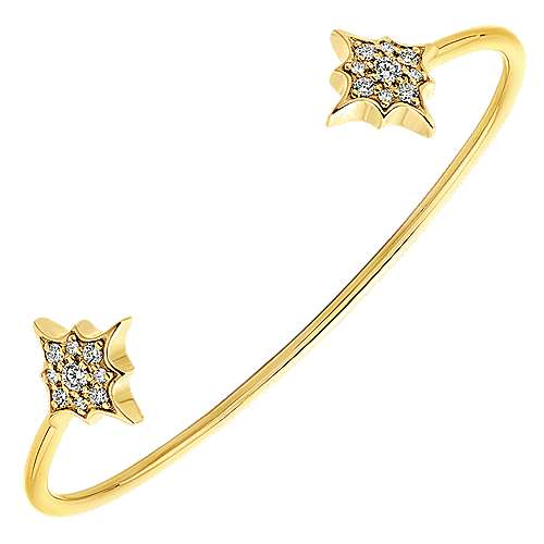 14k Yellow Gold Diamond Petite Starburst Bangle angle 2