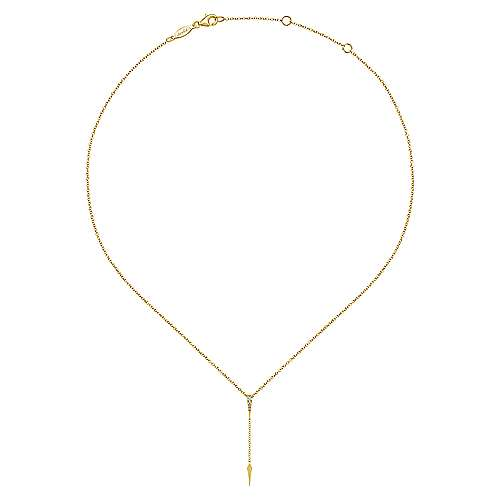14k Yellow Gold Diamond Petite Y Knots Necklace angle 2