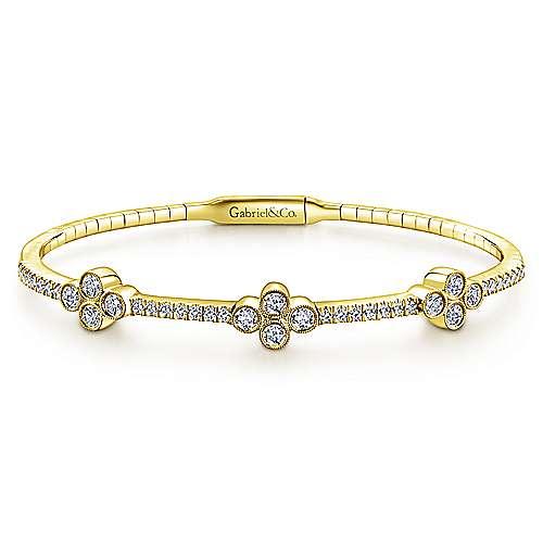 Gabriel - 14k Yellow Gold Diamond Quartet Station Bangle Bracelet