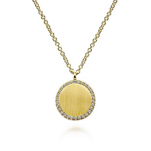 14k Yellow Gold Diamond Round Pendant Fashion