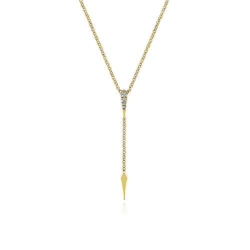 14k Yellow Gold Diamond Spike Y Knot Necklace