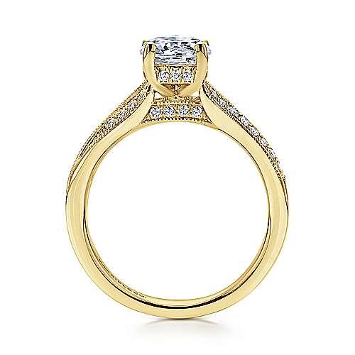 14k Yellow Gold Diamond Split Shank Engagement Ring angle 2