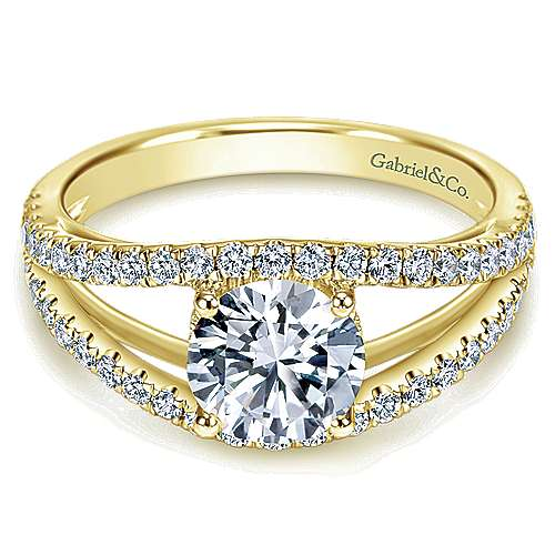 Gabriel - 14k Yellow Gold Round Split Shank Engagement Ring