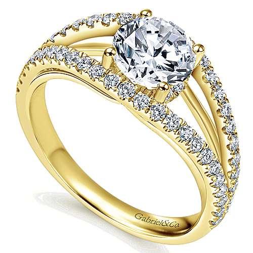14k Yellow Gold Diamond Split Shank Engagement Ring angle 3