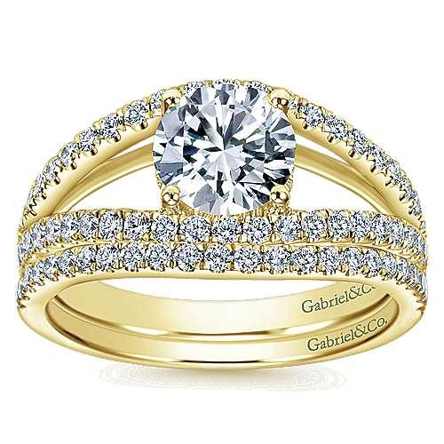 14k Yellow Gold Diamond Split Shank Engagement Ring angle 4