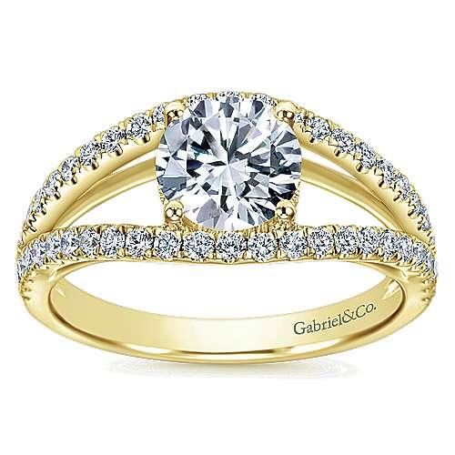 14k Yellow Gold Diamond Split Shank Engagement Ring angle 5