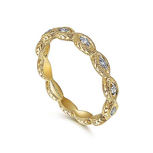 14k Yellow Gold Diamond Stackable Ladies Ring angle 3