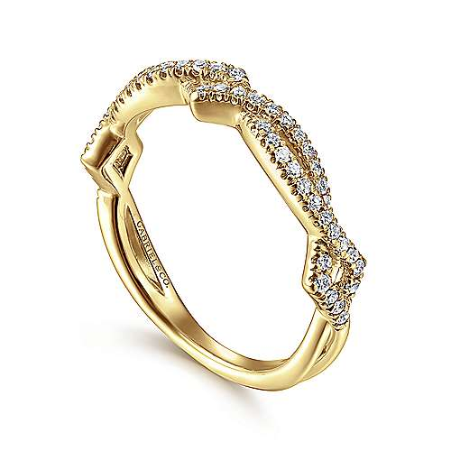14k Yellow Gold Diamond Stackable Ladies
