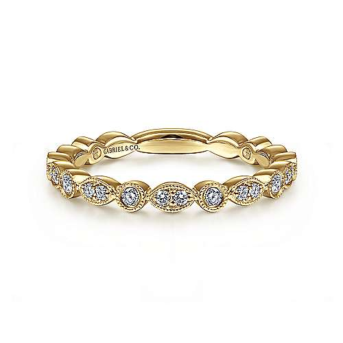 14k Yellow Gold Diamond Stackable