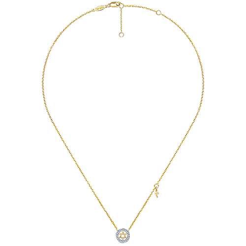 14k Yellow Gold Diamond Star Of David Necklace angle 2