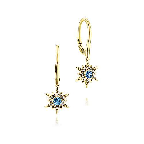 14k Yellow Gold Diamond Starburst Swiss Blue Topaz Drop Earrings
