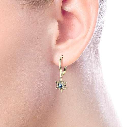 14k Yellow Gold Diamond Starburst Swiss Blue Topaz Drop Earrings angle 2