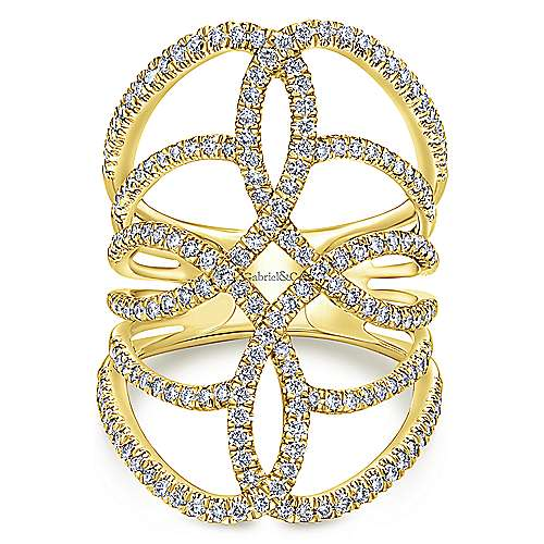 14k Yellow Gold Diamond Statement Ladies