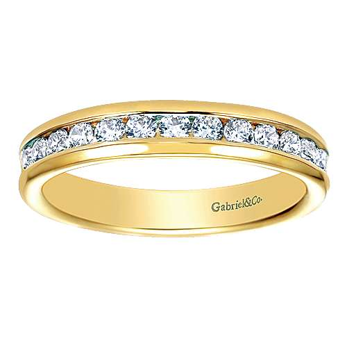 14k Yellow Gold Diamond Straight Anniversary Band angle 5